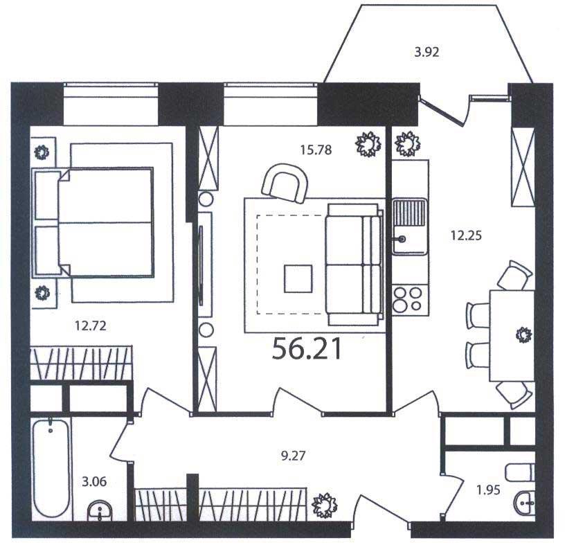 Типовые планировки квартир П-44т, все о серии дома п-44т